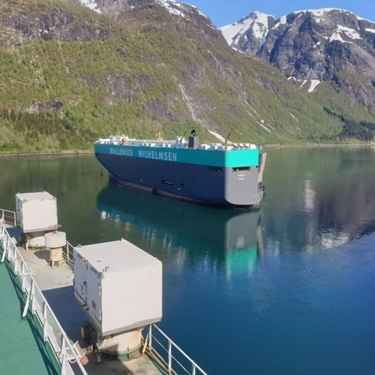 Vessels in layup in a Norwegian fjord